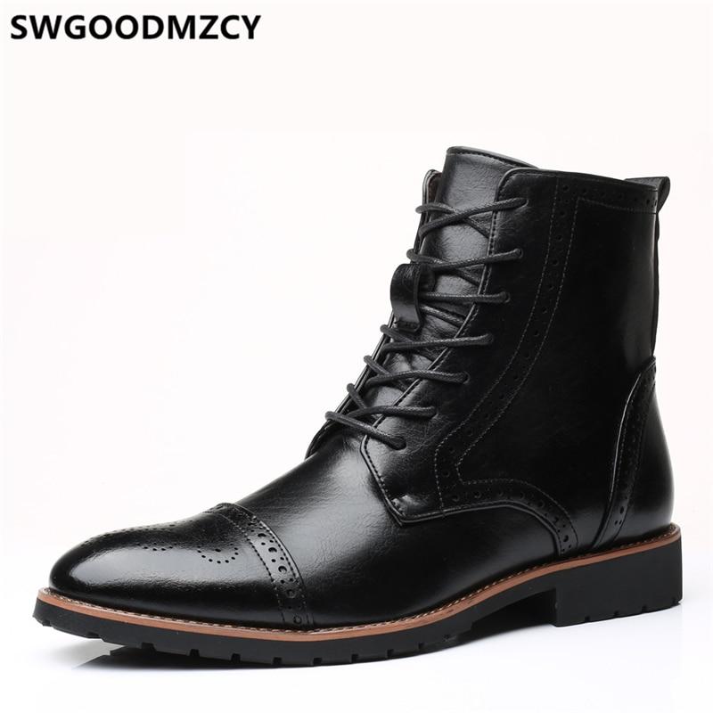 Leather Boots Men Brogue Shoes Men Ankle Boots Coiffeur High Ankle Shoes Mens Plus Size Shoes Men Boots Casual Designer Shoes