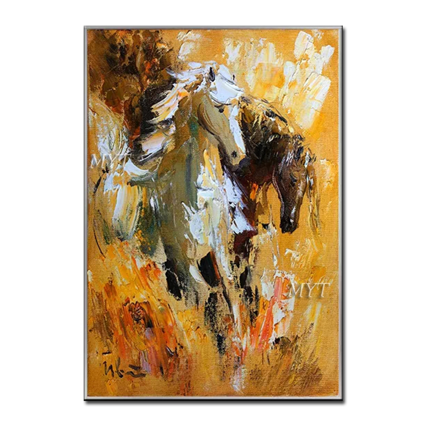Hand painted Running Horse Paintings Picture Decorative Canvas Animal Oil Painting Wall Art Decor Artwork For Hotel Decoration