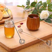 Trempette à miel en acier inoxydable, cuillère à miel pour tremper la gouttelette, serveur à ressort Long, convenable 100% neuf et de haute qualité