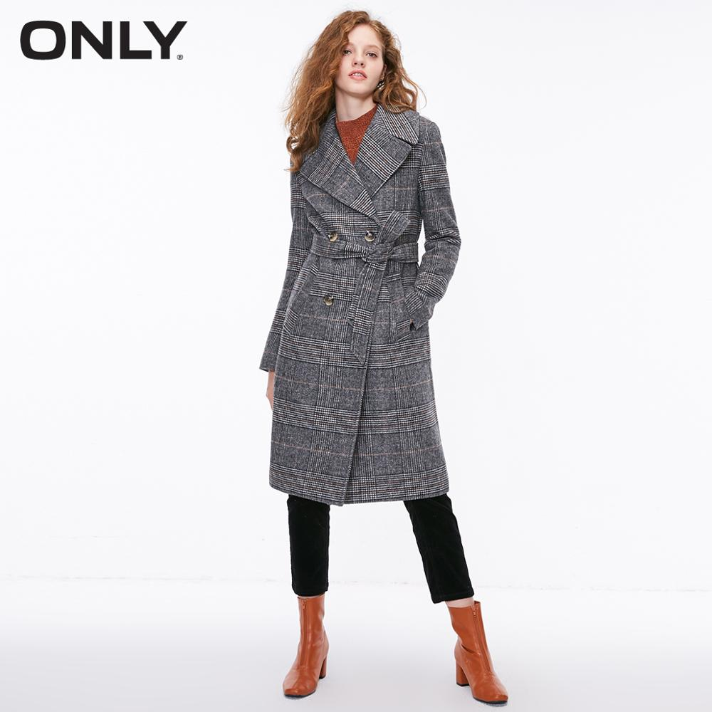 ONLY Women's Autumn Straight Fit Woolen Coat Brit Graphics | 11834S512