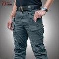 Брюки-карго мужские тактические, эластичные штаны из хлопка, много карманов, водонепроницаемые боевые спецназ, армейские, рабочие, стиль ми...