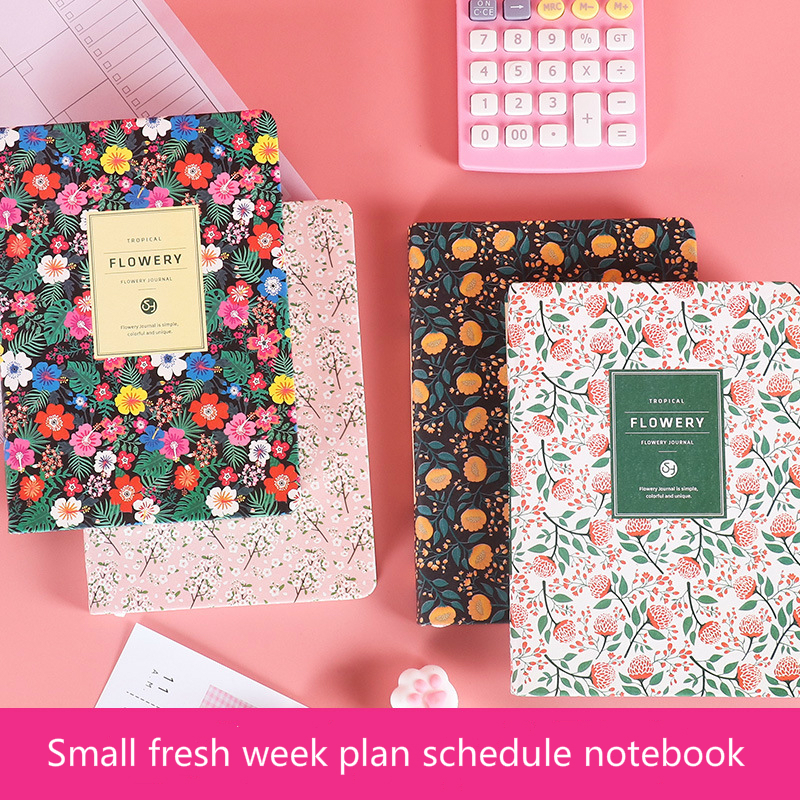 2021 Yearly Agenda Planner Monthly Weekly Plan Portable A5/A6 Kawaii Pocket Notebook Cute Diary Flower Journal Office Stationery