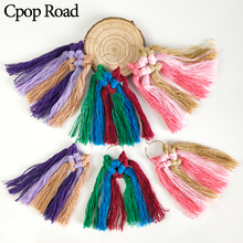 Cpop New Colorful Ethnic Handmade Macrame Earring Fashion Feather Fringe Tassel Earrings Bridesmaid Jewelry Women Accessories