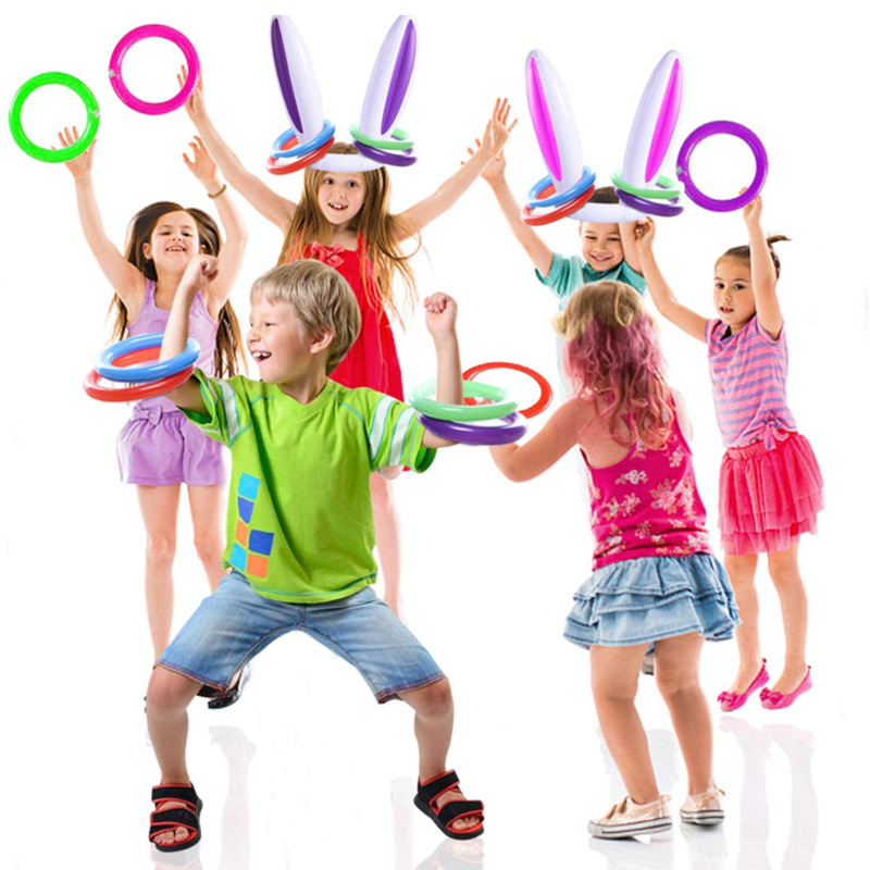 2020 Inflatable Pool Toys Easter Bunny Ears Rabbit Hat Ring Toss Party Game Holiday Party Game Toys Children Outdoor Fun Toys