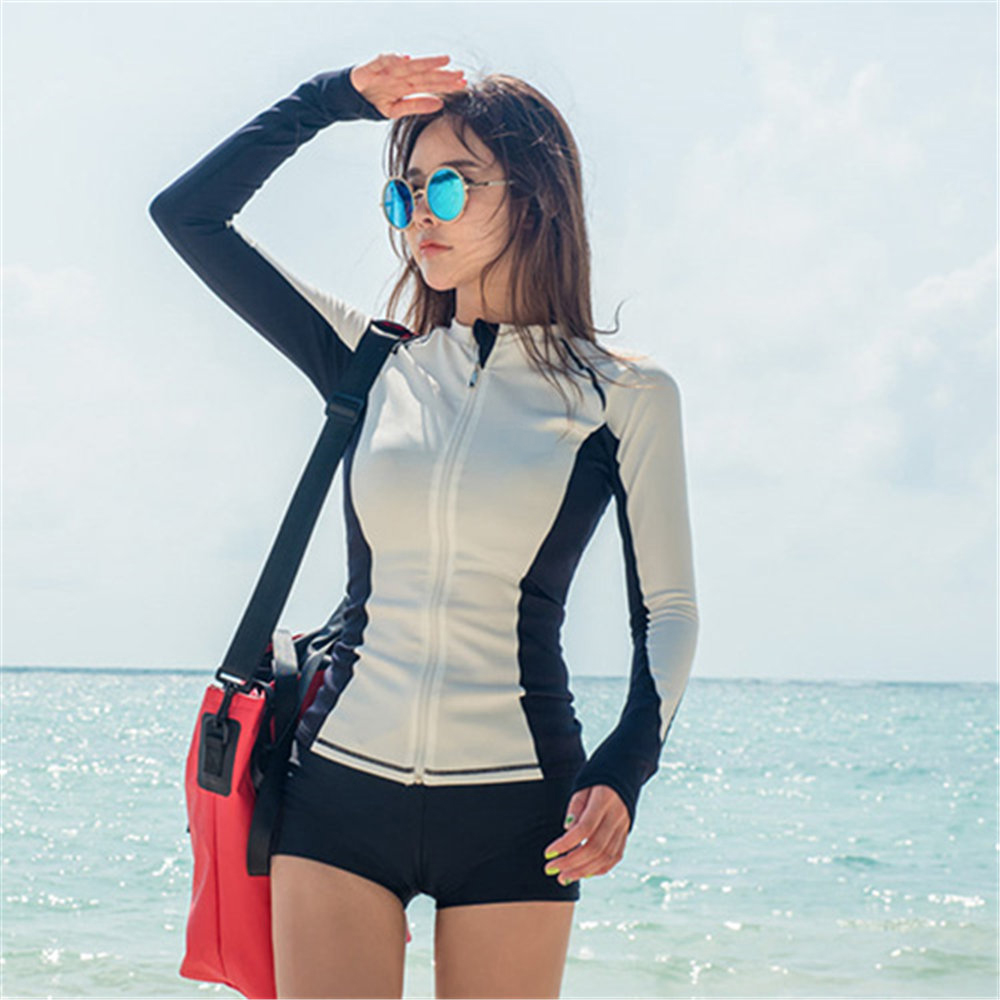Long Sleeve Rash Guard Women Patchwork Swimwear Push Up Swimsuit Three Pieces Surfing Suit With Bra White Bathing Suit Shorts