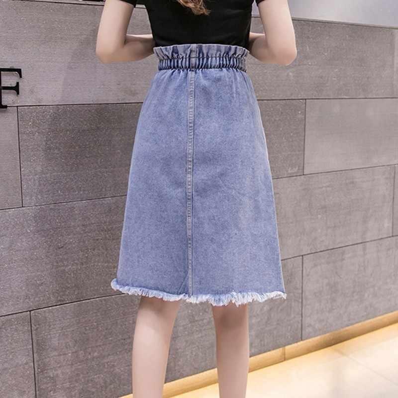 Damskie spódniczki dżinsowe o wysokiej talii 2020 wiosenne letnie nowe sznurki Harajuku Slim-line spódnica damska solidna zgrywanie Streetwear kobieta