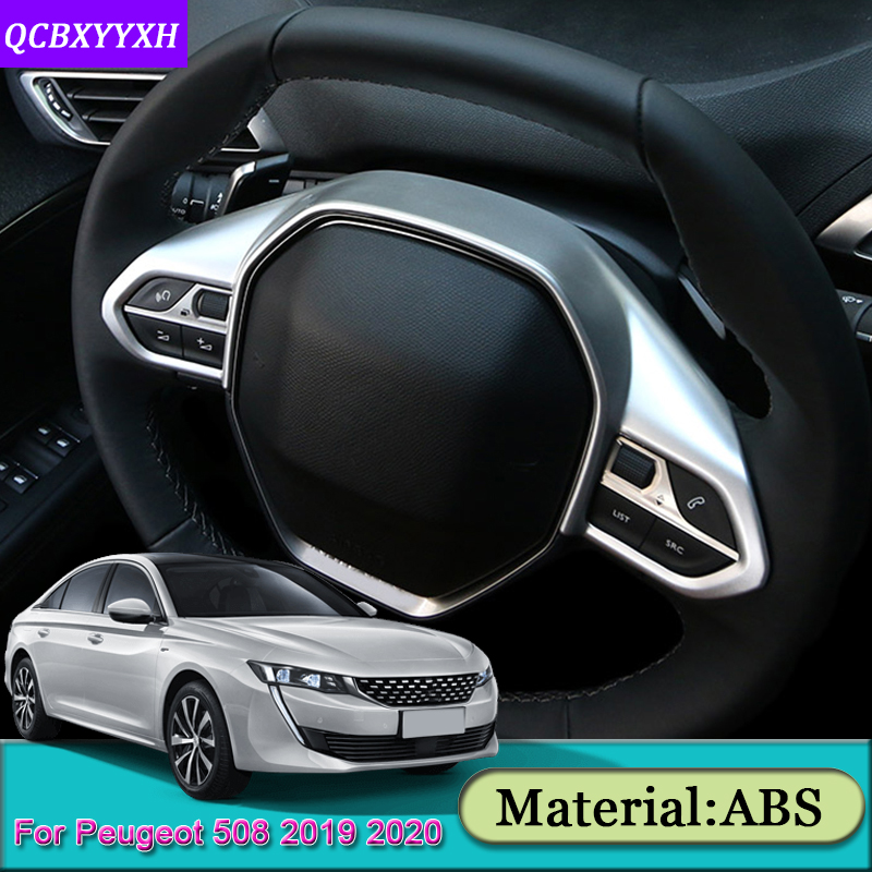 Car Steering Wheel Frame Cover Sequins Sticker Accessory For <font><b>Peugeot</b></font> 508 2008 2019-<font><b>2020</b></font> 3008 4008 5008 2016-2019 <font><b>208</b></font> e-<font><b>208</b></font> <font><b>2020</b></font> image
