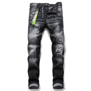 Brand Jeans Pants Trousers Pencil-Button Italy Dsq Street-Style Slim Black Designer Fashion