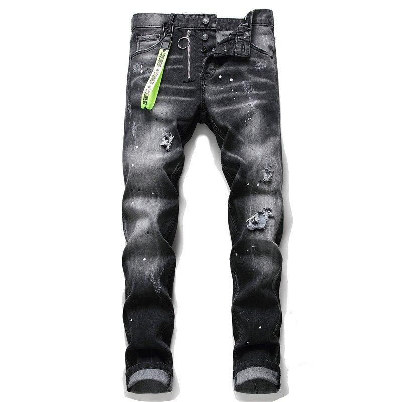 European Italy Designer Street Style Fashion Black Men Dsq Brand Jeans Pants Slim Top Quality Hole Pencil Button Denim Trousers