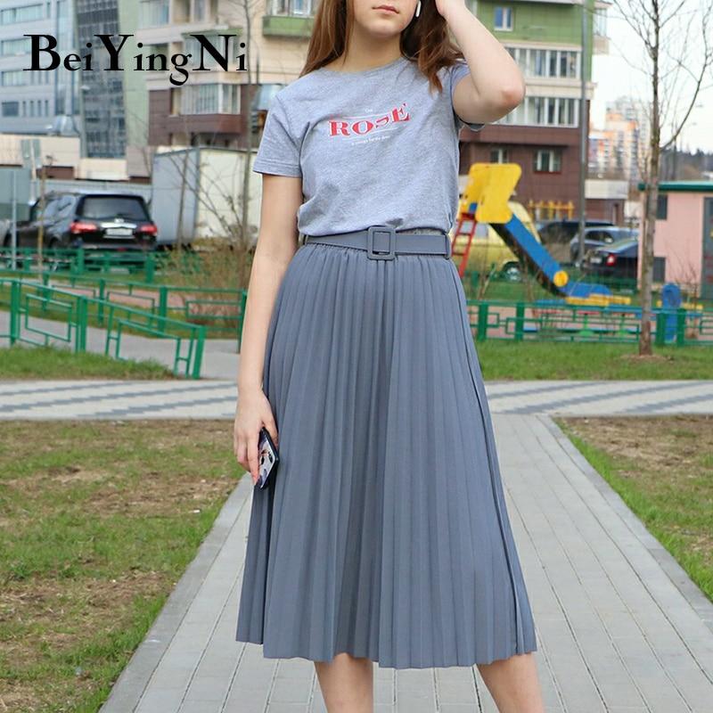 Beiyingni 2020 casual com cinto saia plissada mulher midi moda elegante retro chique saia feminina harajuku primavera verão faldas saia