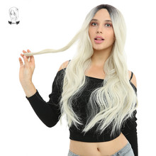WHIMSICAL W Long Wavy Black Blonde Color Wigs Natural Middle Part