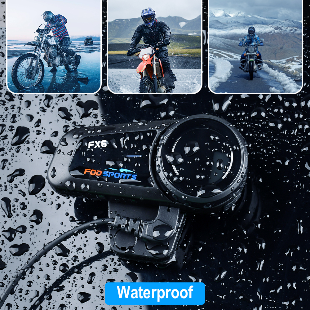 Fodsports 2 sztuk FX6 hełmofonu kask motocyklowy z Bluetooth zestaw słuchawkowy 6 Rider 1000m Moto domofon Intercomunicador FM