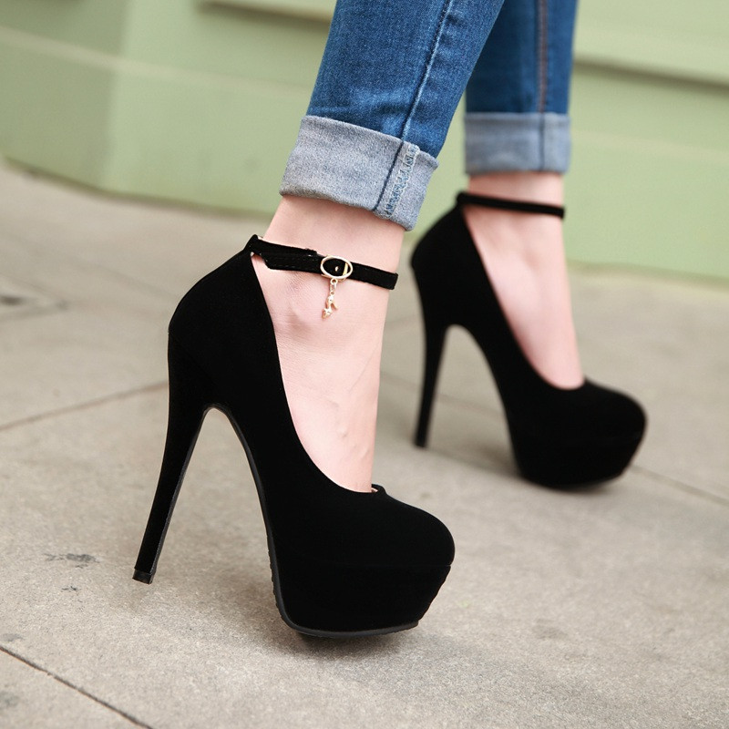 Talons hauts extrêmes grande taille plateforme femmes escarpins bride à la cheville chaussures à talon aiguille femme Stripper talons chaussures de soirée bleu noir