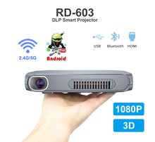 RD-603 DLP Android Mini Projector 2.4G 5G WiFi Bluetooth LED Proyector 1080P HD Portable Projector 3D DLP MINI Projector mini projector dl s9 portable dlp wifi bluetooth projector dlna android4 4 os battery home cinema