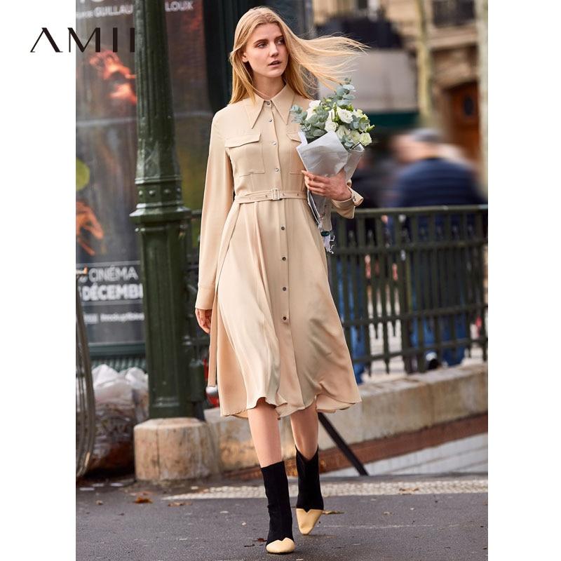 Amii Minimalist Chiffon Dress Autumn Women Lapel Slim Solid Elegant Female Shirt Dresses 11940029