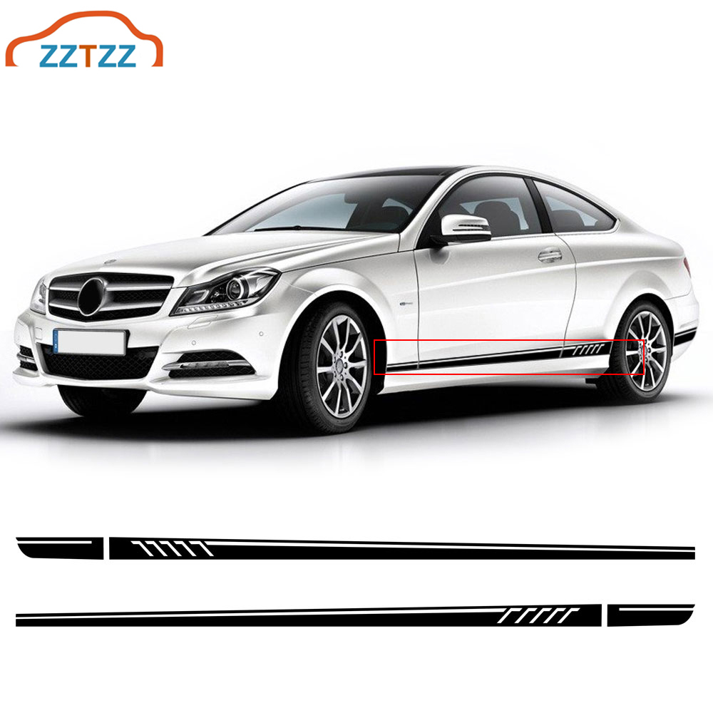1Set Car Side Skirt Decal Sill Door Side Decal Stickers Vinyl Door Side Stickers for W204 Multi Colors