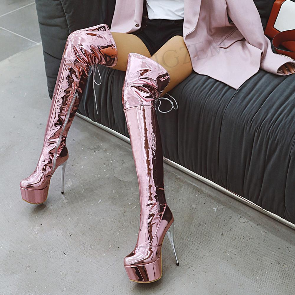 LAIGZEM Shiny Women Waterproof Thigh Boots Patent Silver Stiletto Heels Over Knee Winter Boot Shoes Botas Mujer Large Size 33 48 image