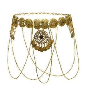 Image 4 - India Sexy Metal dorado flor hueca moneda Cadena de cuerpo con flecos baile Bikini de arnés Bra Belly Belt Waist Chain joyería egipcia