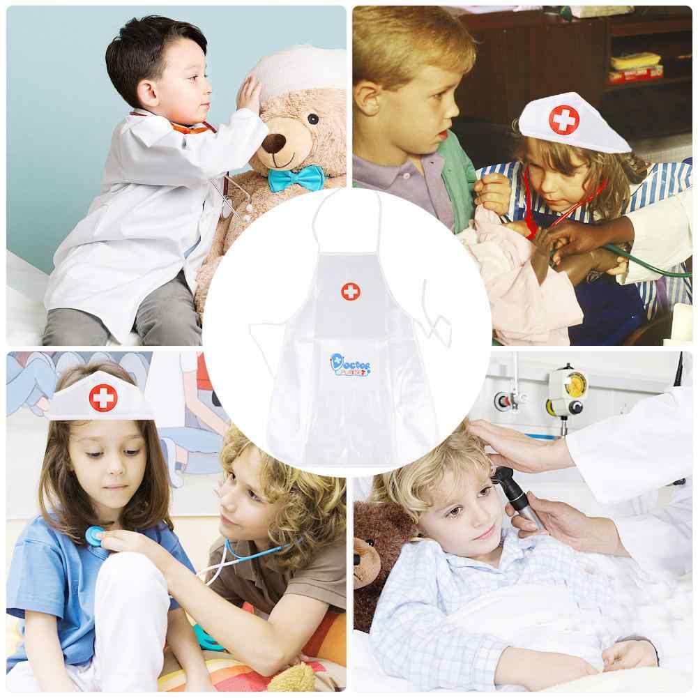 Anak-anak Simulasi Bermain Peran Kostum Dokter Keseluruhan Gaun Putih Perawat Rumah Sakit Cosplay Dokter Cocok untuk Anak Pesta