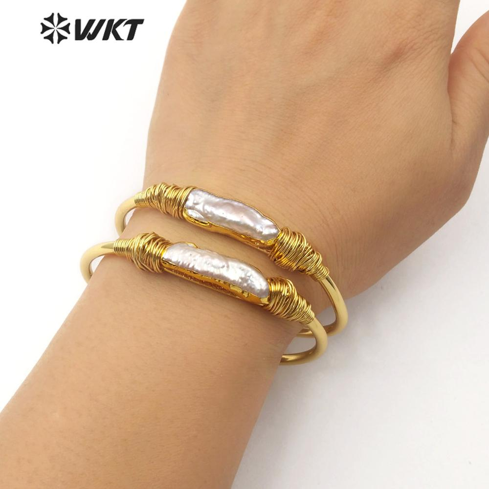 Image 5 - WT B489 Natural Freshwater Pearl Wire Wrapped Bracelet  Gold Trim  Pearl Gold Electroplated Bangle Fashion Jewelry For WomanBangles   -