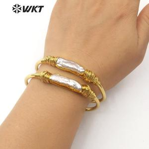 Image 5 - WT B489 Natural Freshwater Pearl Wire Wrapped Bracelet  Gold Trim Pearl Gold Electroplated Bangle Fashion Jewelry For Woman
