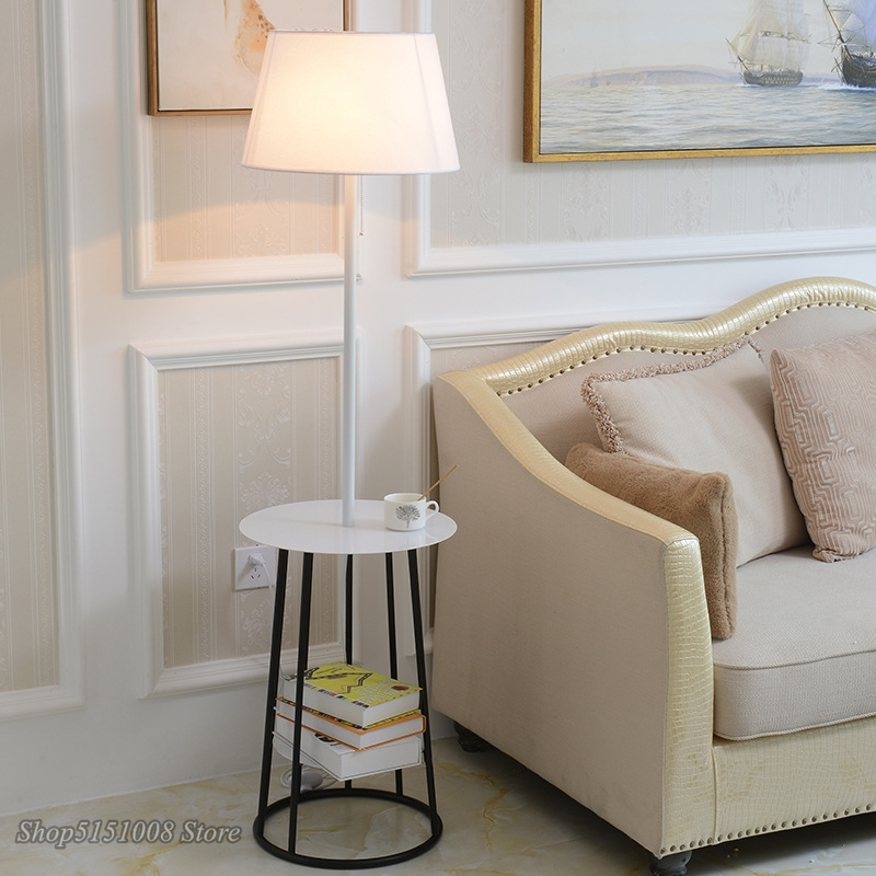 Modern Floor Lamps Cloth Lampshade
