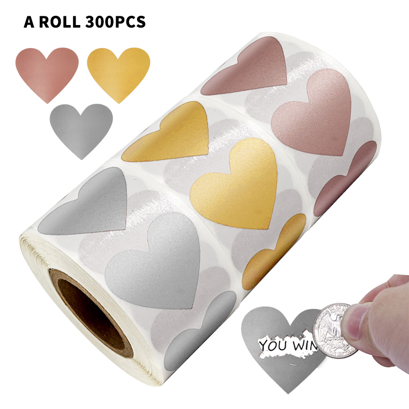 300 PCS Heart Shaped Rose Gold Scratch Off Stickers For Custom Game Party Activity Sticker Clear Stickers Stationery Sticker