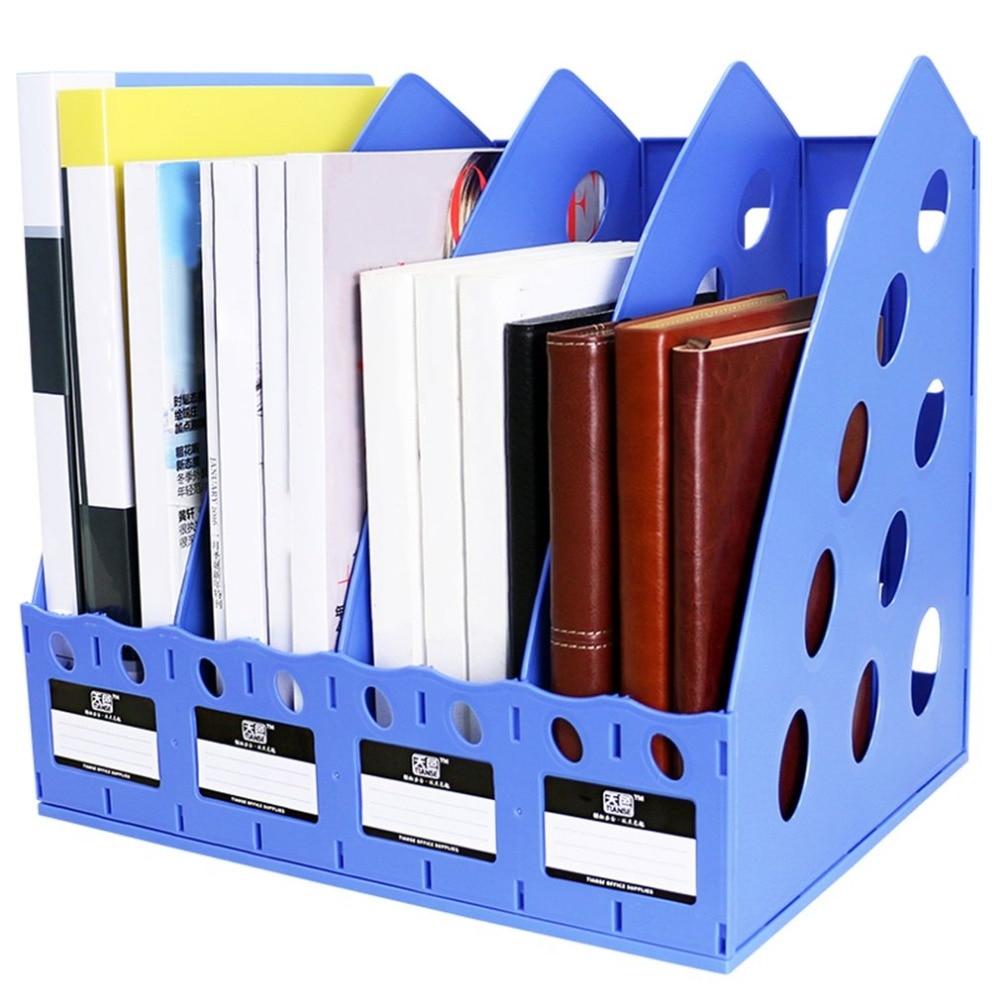 TIANSE TS-1306 Plastic Bookshelf 4 Section Divider File Rack Paper Holder Multifunctional Home Office Desktop Storage Hanger