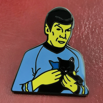 Spock Holding a Black Cat Film Character Brooch image