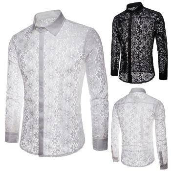 Men Sexy Long Sleeve Solid Color Lace See Through Clubwear Button Down Shirt soft and skin-friendly shirt long sleeve corduroy button down shirt