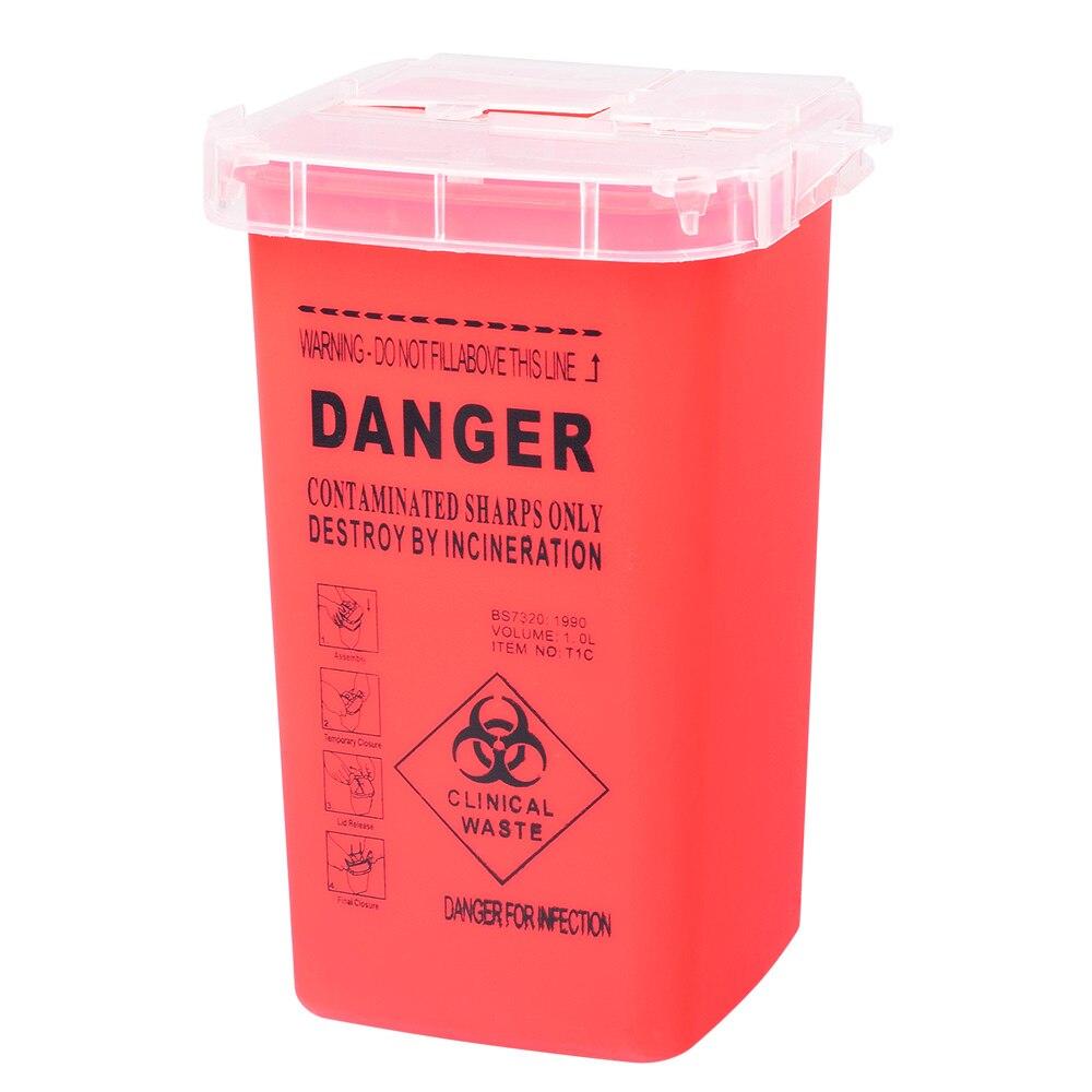 1L Capacity Sharps Container Medical Needles Bin Biohazard Tattoo Piercing  Disposal Collect Box  Artist Waste