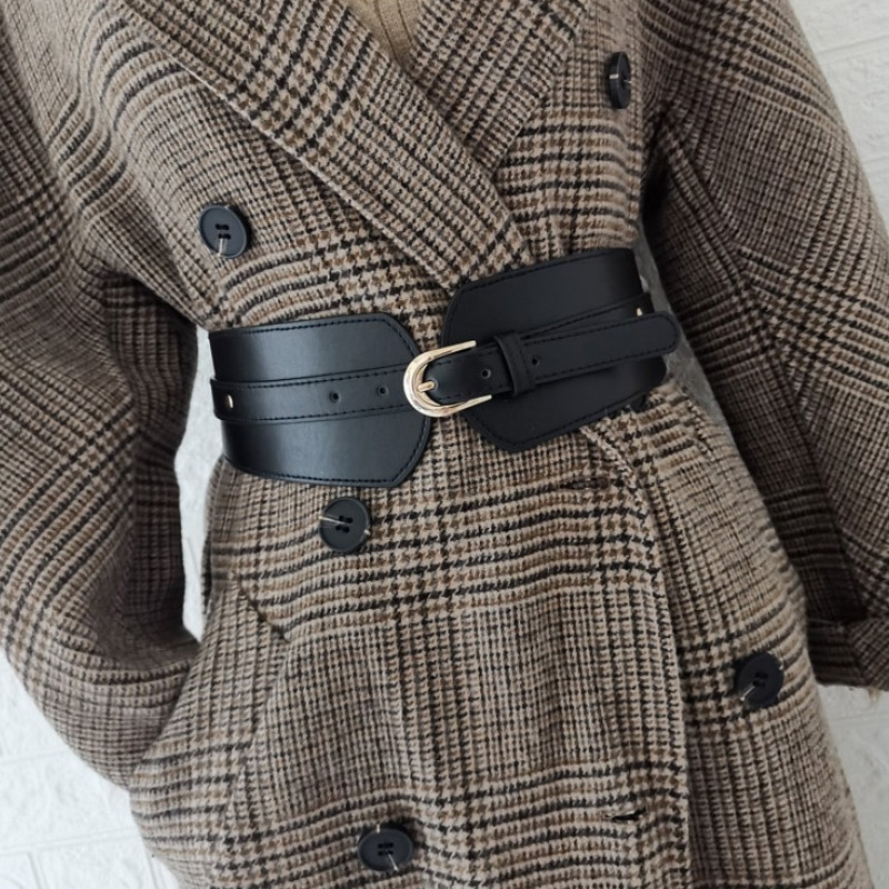 Luxury ladies wide belt elastic vintage buckle leather wide fashion wild pin buckle women's belt waist seal belt