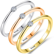 ELESHE Genuine 925 Sterling Silver Rings Simple Round Crystal Zircon Finger Rings For Women Engagement Jewelry Christmas Gift(China)