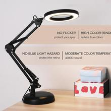 Desk-Lamp Magnifier Led-Light Power-Supply Professional Foldable 5X with Three-Dimming-Modes