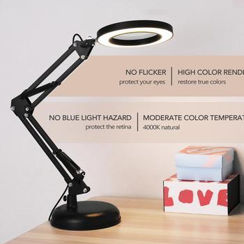 Składany profesjonalny 5X powiększające szklane biurko lampa lupa LED Light lampka do czytania z trzema trybami ściemniania zasilacz USB tanie i dobre opinie KKMOON CN (pochodzenie) NONE Stojąca Lamp Magnifier Z tworzywa sztucznego