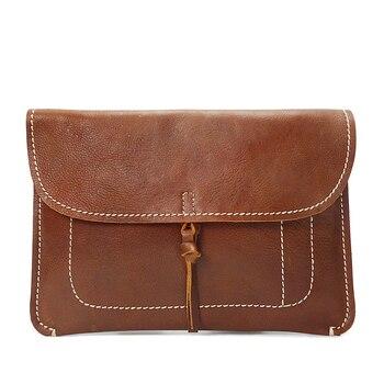 Women Envelope Large Clutch Genuine Leather A4 File Bag Documents Portfolio Men MacBook IPAD tablet bag vintage Handmade Clutch