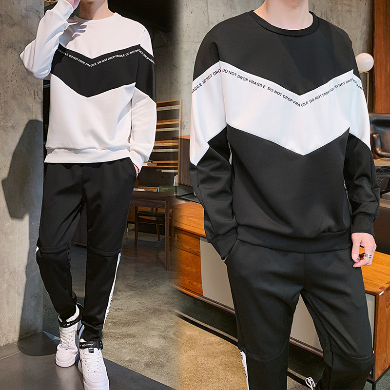 2019 Autumn New Style Korean-style Slim Fit A Set Of Men's Sports Leisure Suit Teenager Junior High School Students Hoodie Suit