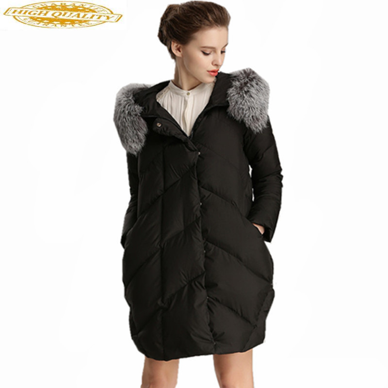 Fashion Women's Down Jackets Fox Fur Collar Hooded Coat Women Winter Parka Padded Ladies Coats Casaco De Inverno WXF368