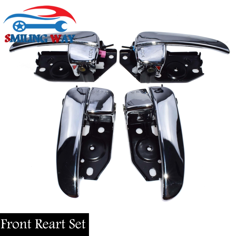 Set Of 4 Outside Front /& Rear LH RH Black Door Handle For 01-05 Hyundai Elantra
