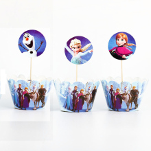 Disney Frozen Theme 24 pcs Disposable Birthday Party Cupcake Decorations Cake Wrappers And Toppers Christmas Supplies For Kids
