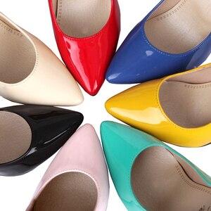 Image 5 - אופנה גבוהה עקבים משאבות אישה נעלי ירוק עירום אדום כחול נשים של נעלי מפלגה נעלי חתונת משרד גבירותיי גדול גודל 44 47