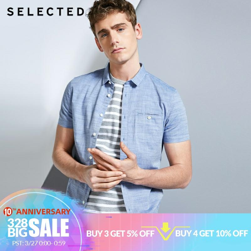 SELECTED Mens 100% Cotton Pure Color Pointed Collar Short sleeved Shirt C418204531Casual Shirts