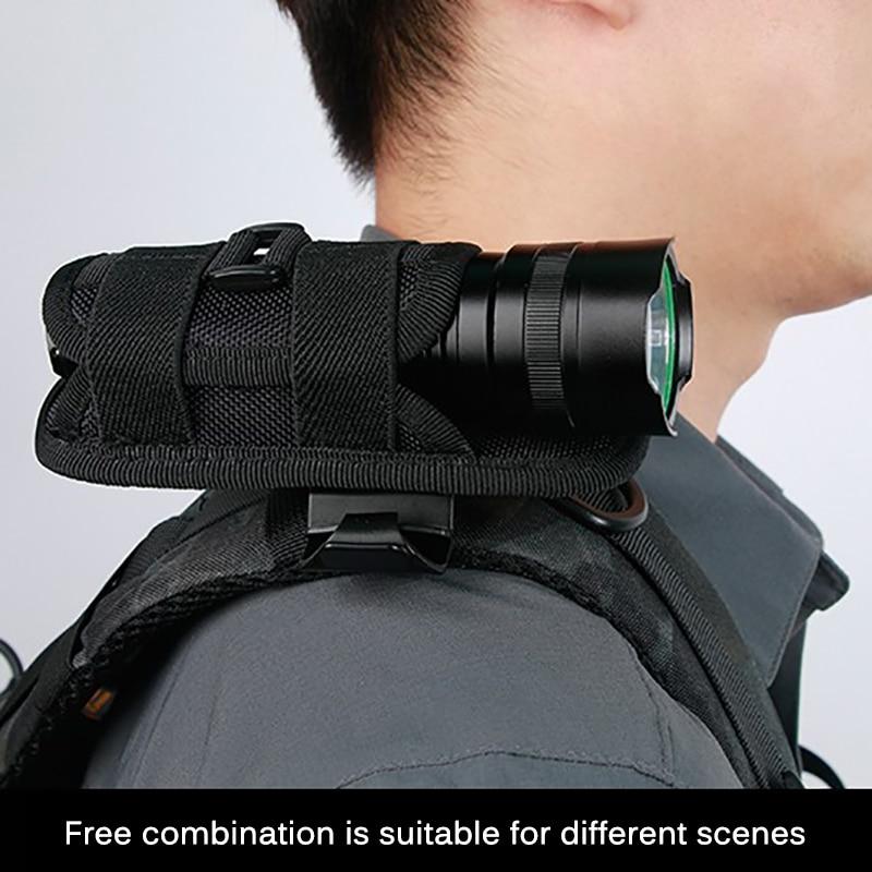 Funda táctica para linterna de 360 grados, funda para linterna giratoria, funda para linterna de cinturón, accesorios de iluminación de caza duradera, Kits de supervivencia|Herramientas de exterior|   -