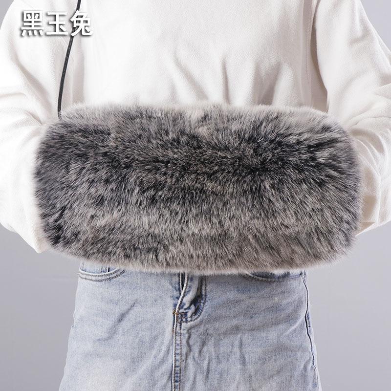 2021 100% High Quality Fake Rabbit Fur Arm Warmer Gloves Velvet Lining Fur Hand Wrist Large Outdoor Winter Long Mitten Wristband