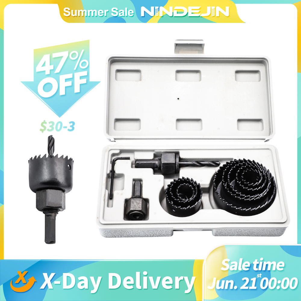 11/16pcs woodworking hole saw set drill bit carbon steel 19-127mm hole cutter set for plasterboard ceiling wood hole saw kit