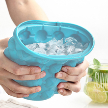 Double Layer Silicone Ice Bucket Round Plastic Ice Bucket with Lid Portable Wine Barrel Kitchen Ice Bucket Cooling Tool Tools free shipping plastic led ice bucket color changing plastic ice bucket luminous ice pail ice cooler glow beer cask wine barrel