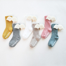 Baby Kids Socks Angel Wing Child Long Knee Sock For Girls Child Vertical Stripedr Hose Candy Color Toddler Sock For 0 5Y