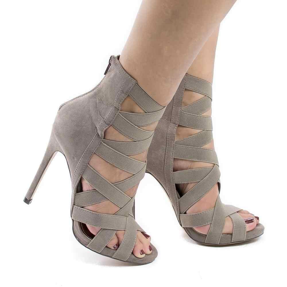 ¡Novedad de primavera! Sexis zapatos de tacón alto a la moda calados, zapatos de mujer de tacón alto y Punta abierta para verano y otoño, zapatos clásicos sexis de tacón fino romano para mujer, sandalias para fiesta