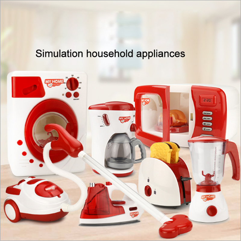 Play House Household Appliances Pretend Play Kitchen Children Toys Coffee Machine Toaster Blender Vacuum Cleaner Cooker For Kid