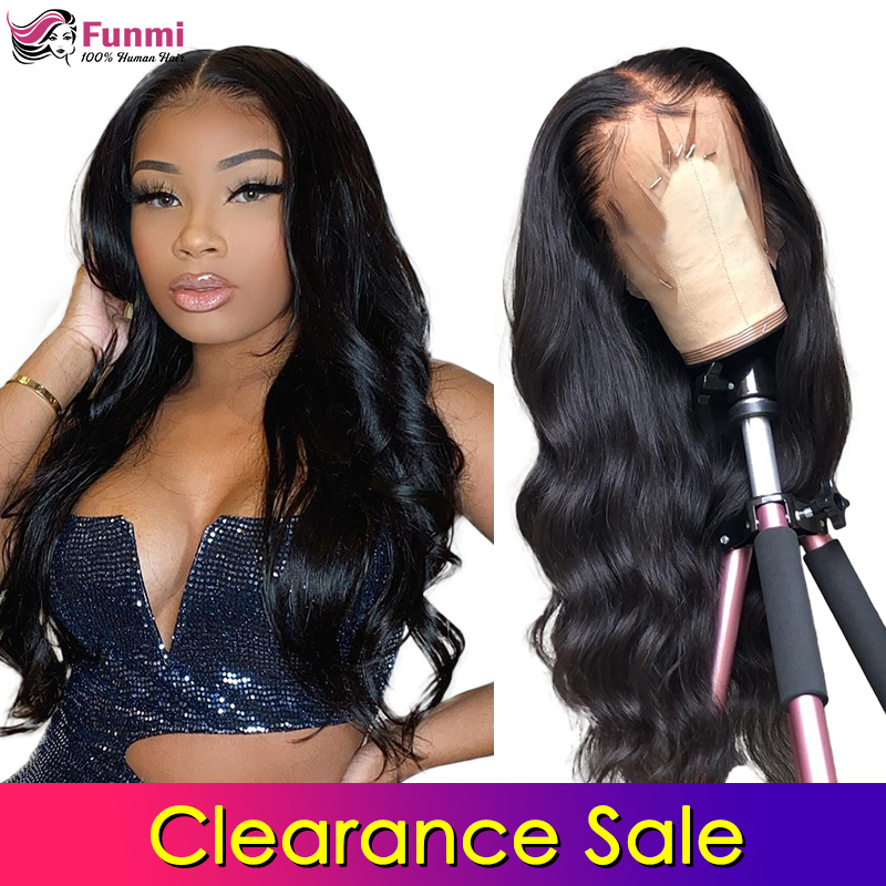 Clearance Sale Lace Front Human Hair Wigs Body Wave Pre Plucked Hairline Baby Hair Brazlian Remy Human Hair Lace Closure Wigs